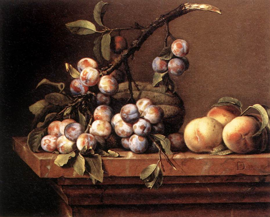 Plums and Peaches on a Table :: Pierre Dupuys - Still-lives with fruit ôîòî