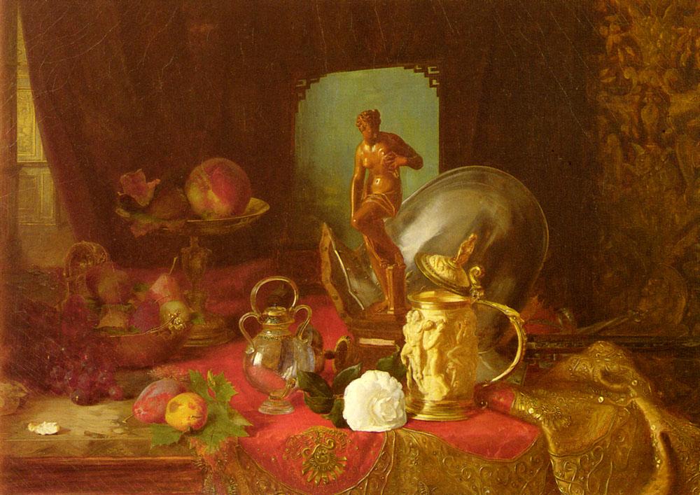 A Still Life with Fruit, Objets d'Art and a White Rose on a Table :: Blaise Alexandre Desgoffe - Still Lifes ôîòî