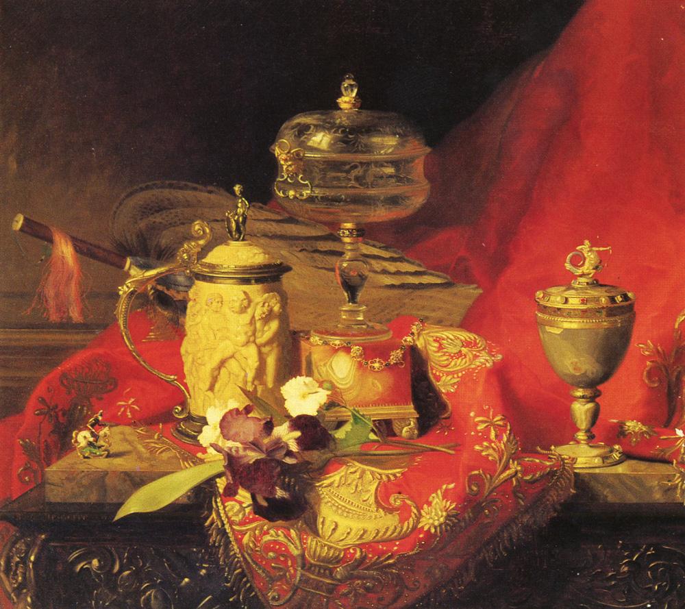 A Still Life With Iris And Urns On A Red Tapestry :: Blaise Alexandre Desgoffe - Still Lifes ôîòî