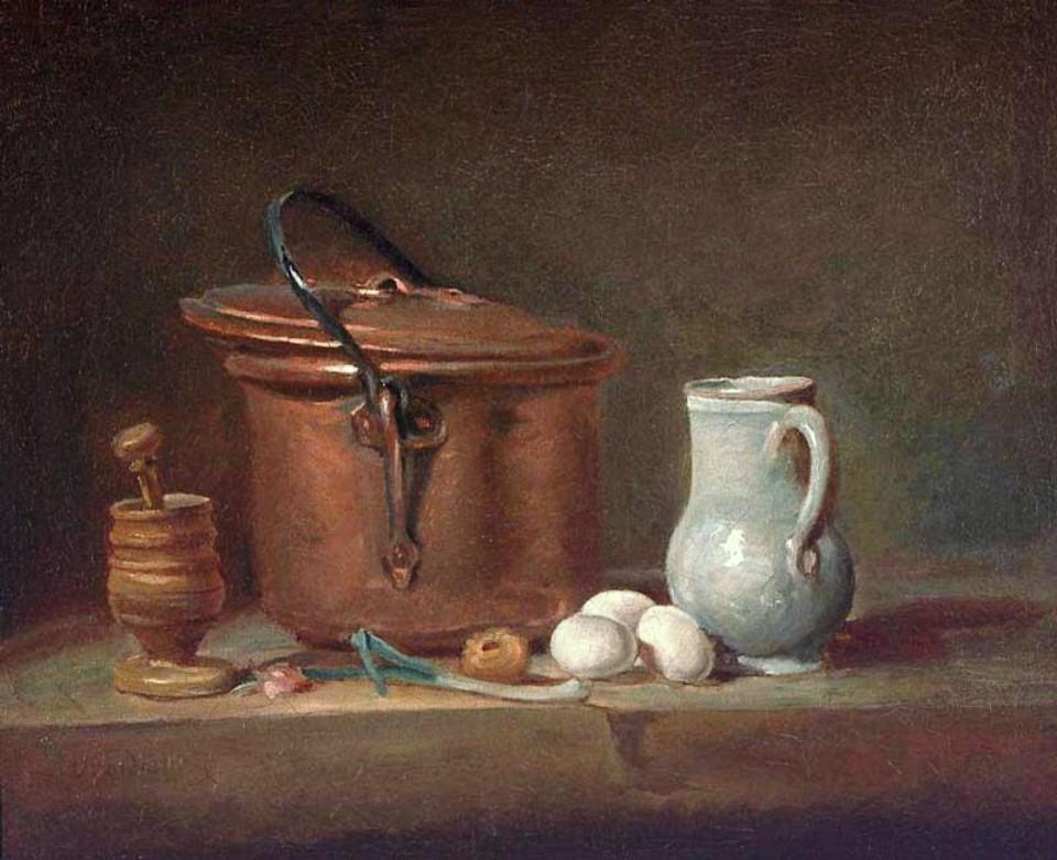 Still Life with Copper Pan and Pestle and Mortar :: Jean-Baptiste-Simeon Chardin  - Still Lifes ôîòî