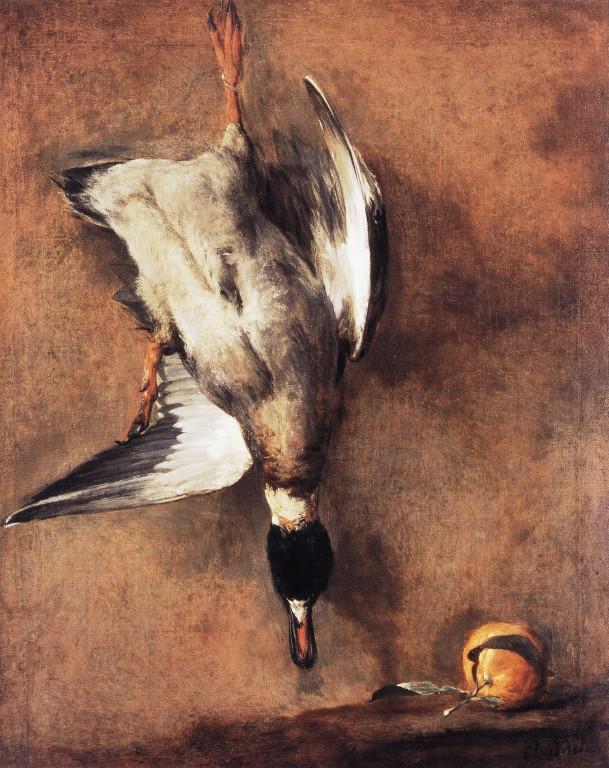 Wild Duck with a Seville Oraange :: Jean-Baptiste-Simeon Chardin - Still Lifes ôîòî