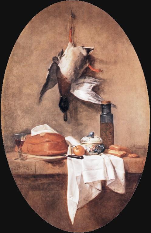 Wild Duck with Olive Jar :: Jean-Baptiste-Simeon Chardin - Still Lifes ôîòî