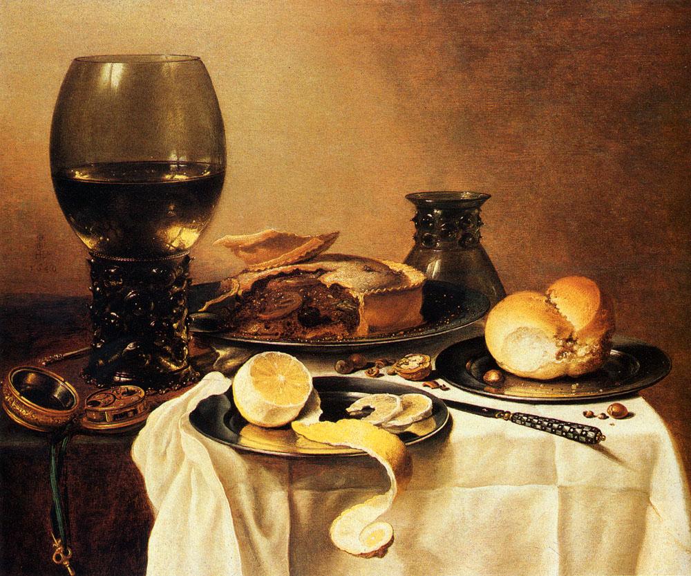 Breakfast Still Life With Roemer, Meat Pie, Lemon And Bread :: Pieter Claesz - Still Lifes ôîòî