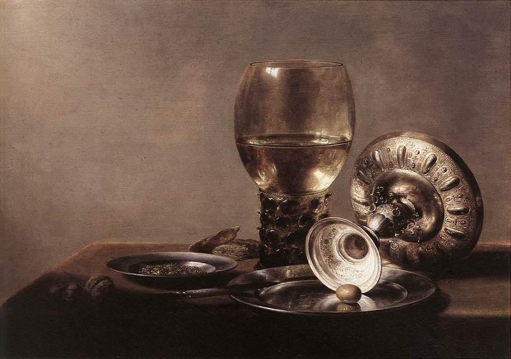Still Life with Wine Glass and Silver Bowl :: Pieter Claesz - Still Lifes ôîòî