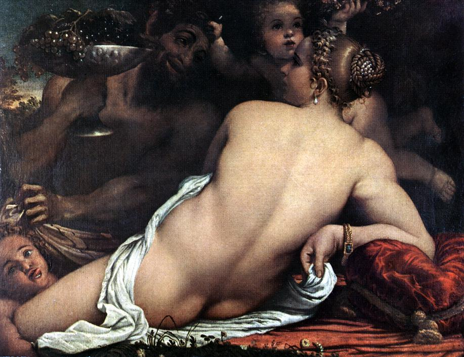 Venus with a Satyr and Cupids :: Annibale Carracci - nu art in mythology painting ôîòî