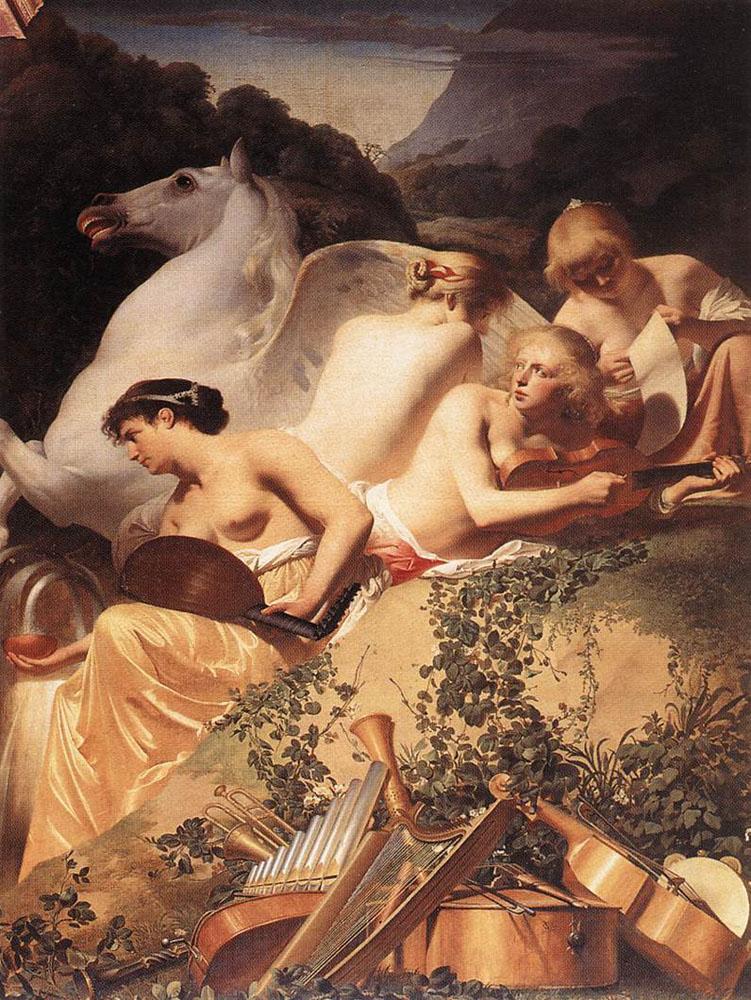 The Four Muses with Pegasus :: Caesar van Everdingen - nu art in mythology painting ôîòî