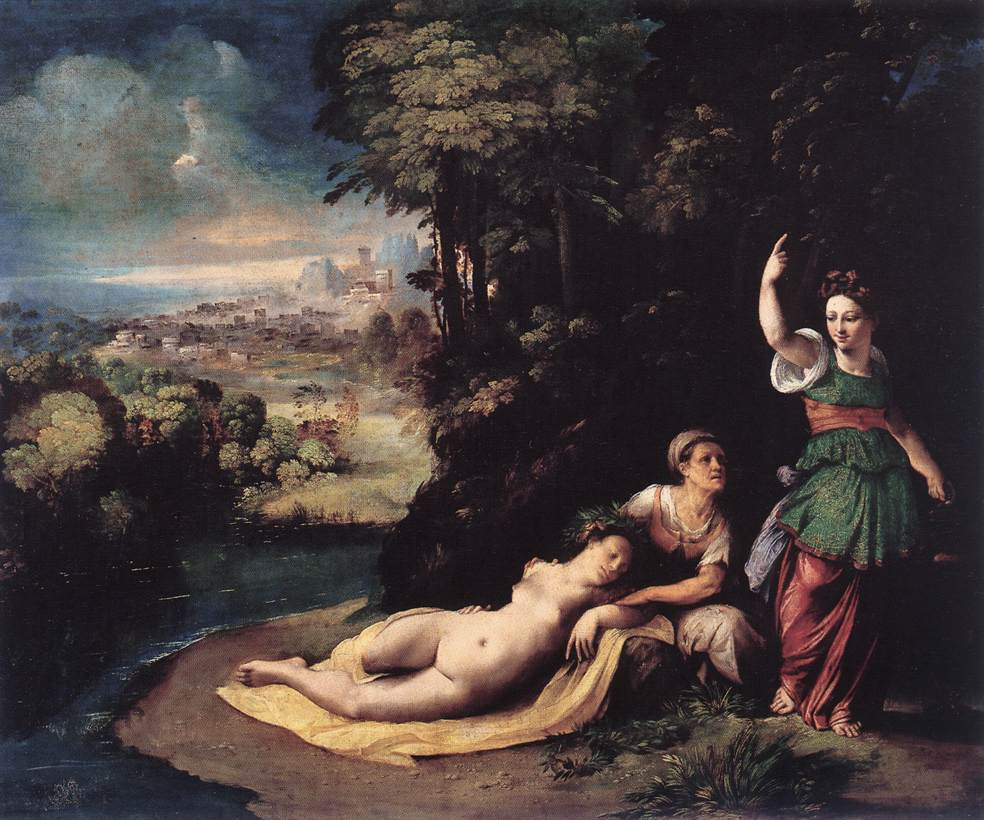 Diana and Calisto :: Dosso Dossi - nu art in mythology painting ôîòî