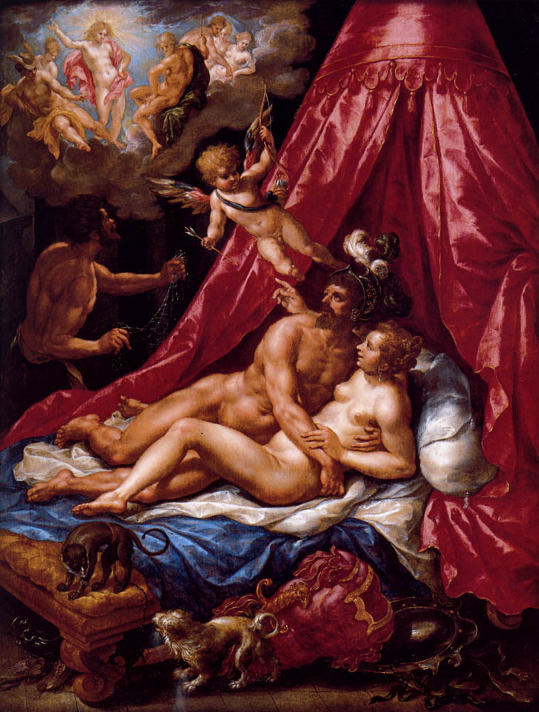 Mars And Venus Surprised By Apollo :: Hendrick De Clerck - nu art in mythology painting ôîòî