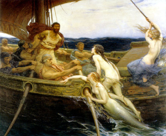 Ulysses and the Sirens :: Herbert James Draper - nu art in mythology painting ôîòî