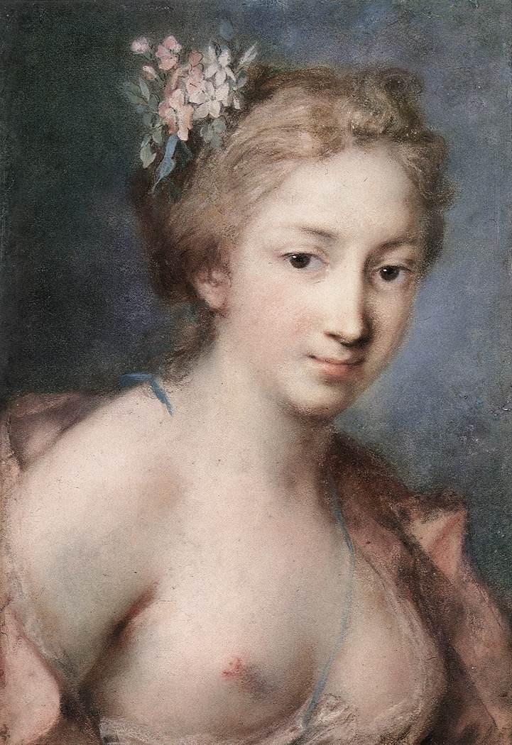 Flora Pastel on paper :: Rosalba Carriera - nu art in mythology painting ôîòî