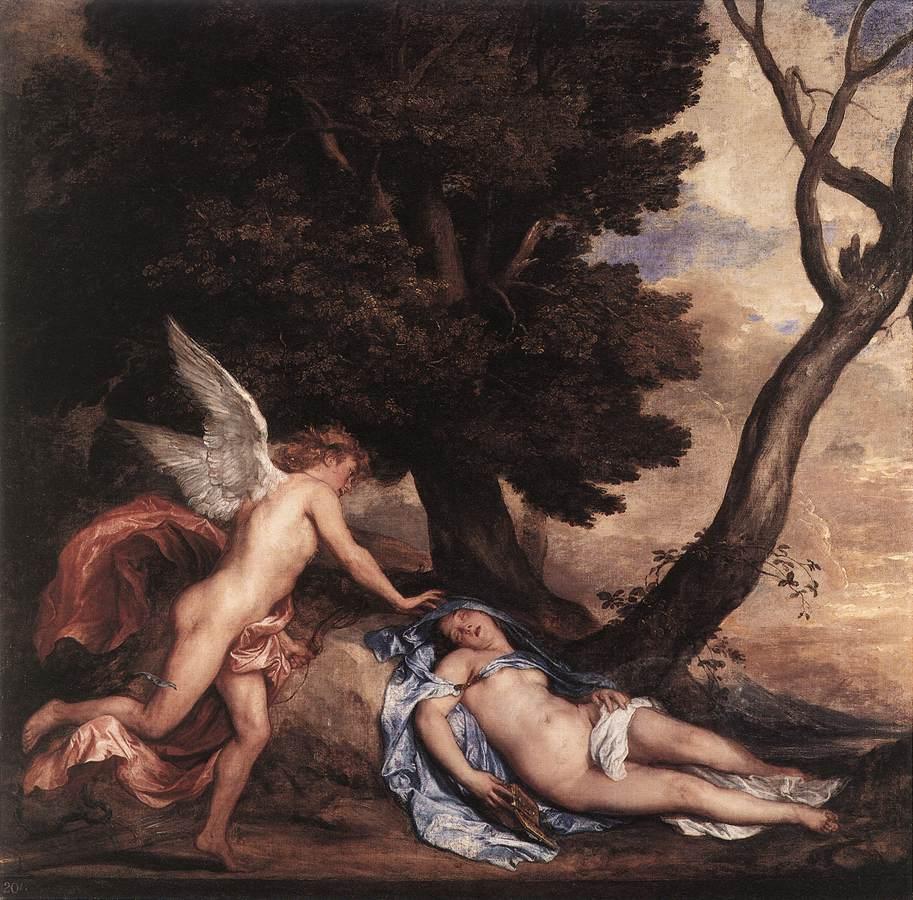 Cupid and Psyche :: Sir Antony van Dyck - nu art in mythology painting ôîòî