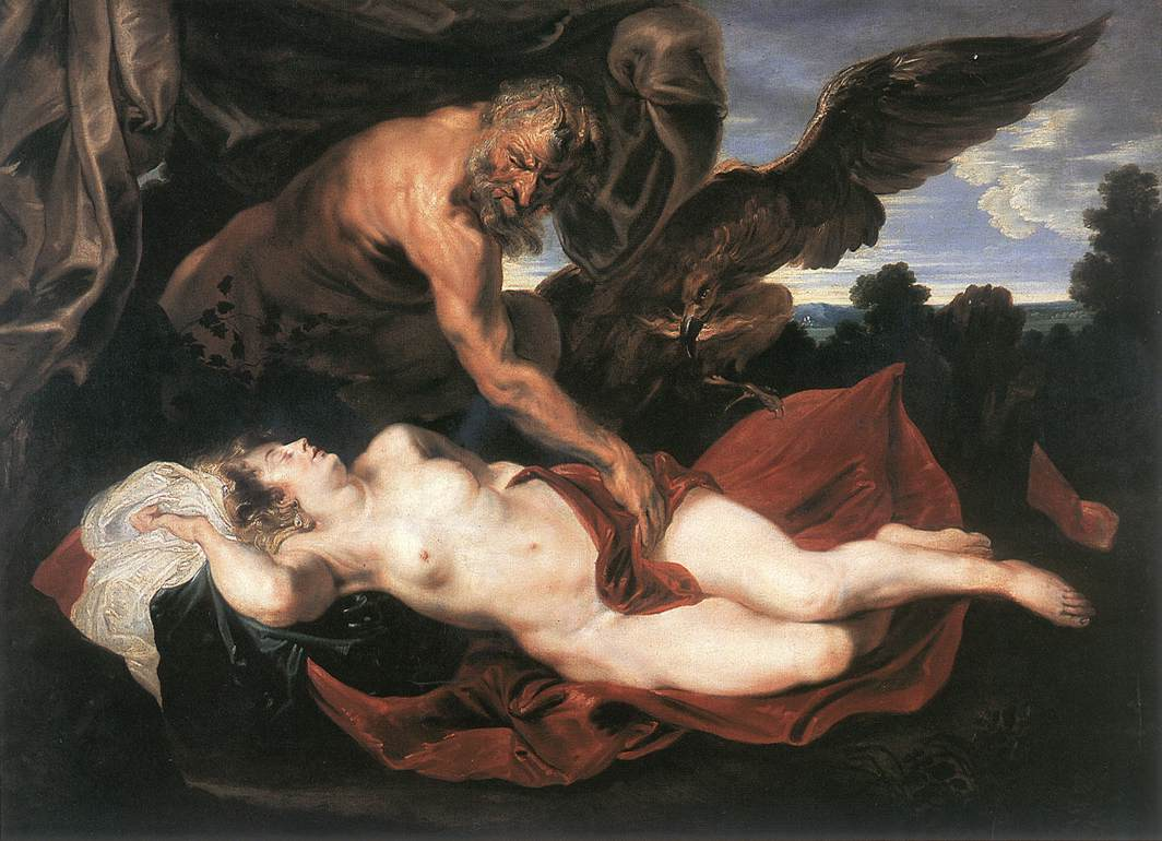 Jupiter and Antiope :: Sir Antony van Dyck - nu art in mythology painting ôîòî