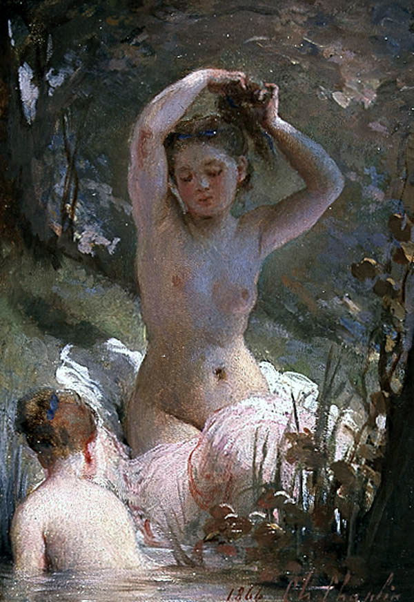 Two Girls Bathing :: Charles Chaplin - Nu in art and painting ôîòî