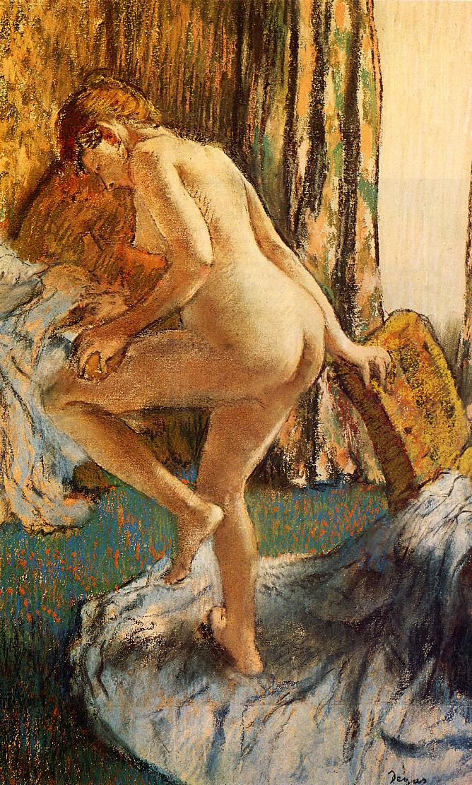 After the Bath Pastel on joined paper :: Edgar Degas - Nu in art and painting ôîòî