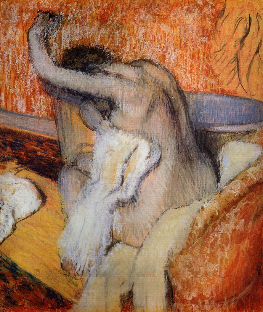 After the Bath, Woman Drying Herself Pastel on tracing paper :: Edgar Degas  - Nu in art and painting ôîòî