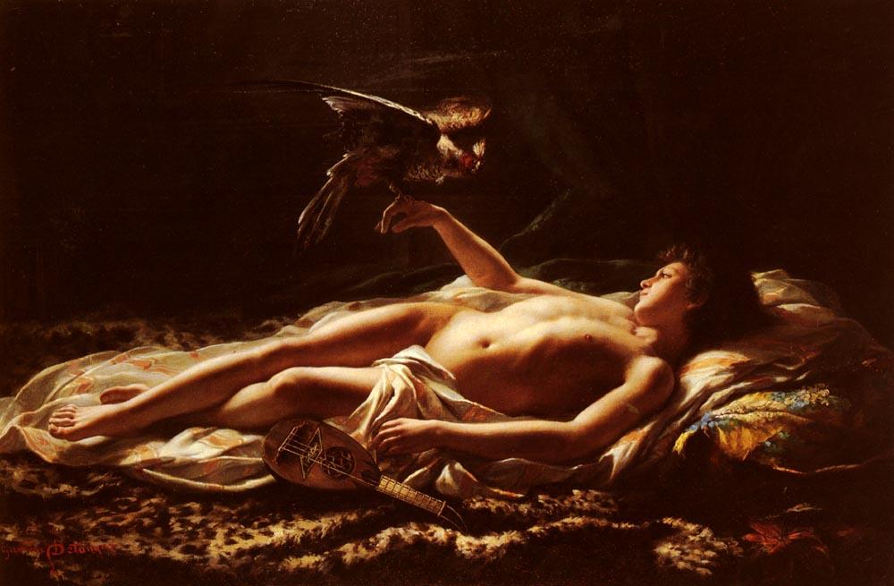Nu Masculin Avec Faucon [Male Nude with Falcon] :: Germain Detanger - Nu in art and painting ôîòî
