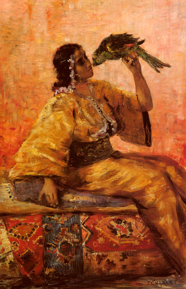 A Moroccan Beauty Holding A Parrot  :: Frantz Charlet - Arab women (Harem Life scenes) in art  and painting ôîòî