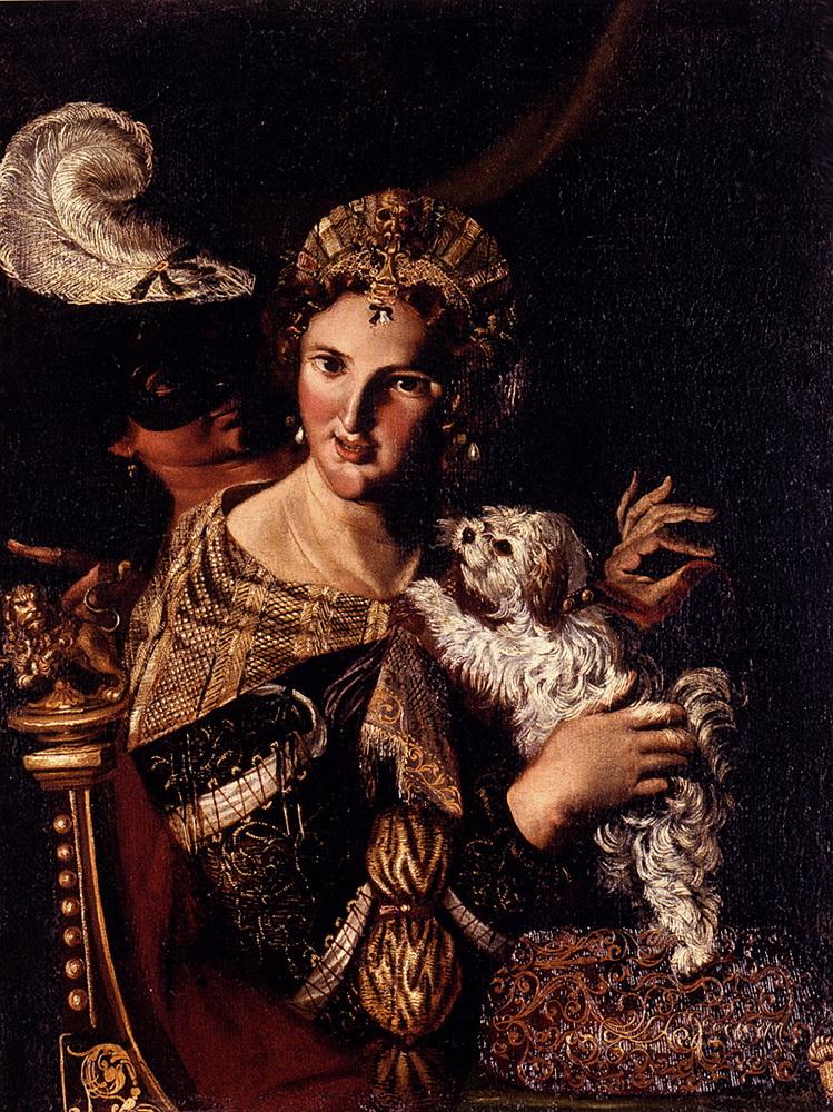 A Lady With Her Dog, An Allegory :: Angelo Caroselli  - 2 women portraits 16th century hall ôîòî