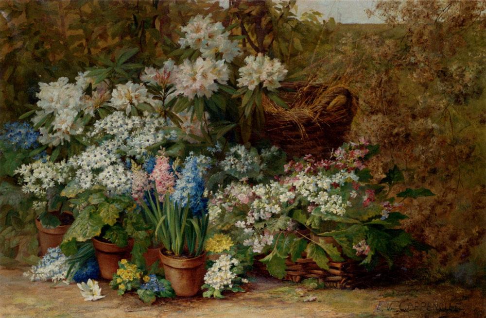 Still Life With Potted Plants In A Nursery :: Edmond Van Coppenolle - flowers in painting ôîòî