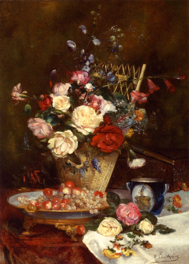 Still Life With Roses, Cherries And Grapes :: Eugene Henri Cauchois - flowers in painting ôîòî