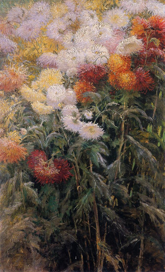 Clump of Chrysanthemums :: Gustave Caillebotte - flowers in painting ôîòî