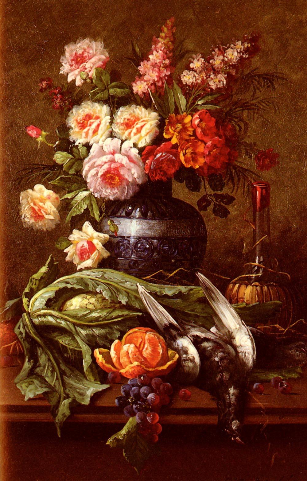 Nature Morte Aux Fleurs Et A Lorange :: Modeste Carlier - flowers in painting ôîòî