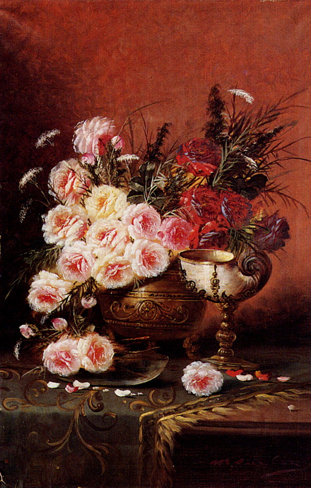 Still Life Of Roses And A Nautilus Cup On A Draped Table :: Modeste Carlier - flowers in painting ôîòî