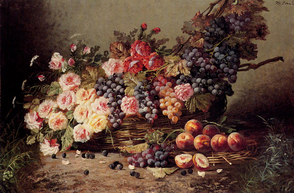 Still Life Of Roses, Peaches And Grapes In A Basket :: Modeste Carlier - flowers in painting ôîòî