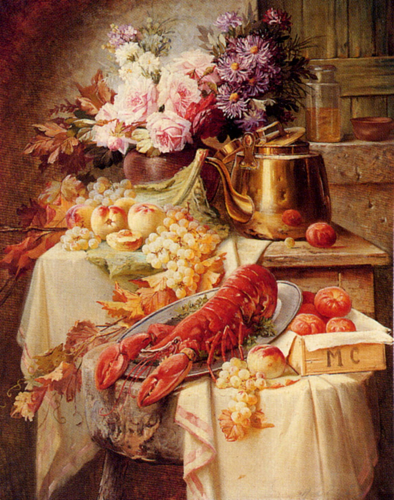 Still Life With A Lobster And Assorted Fruit And Flowers :: Modeste Carlier - flowers in painting ôîòî
