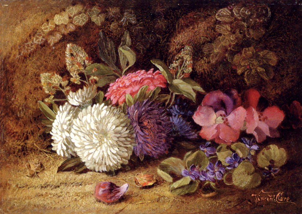 Asters,Pansies And Violets :: Vincent Clare - flowers in painting ôîòî