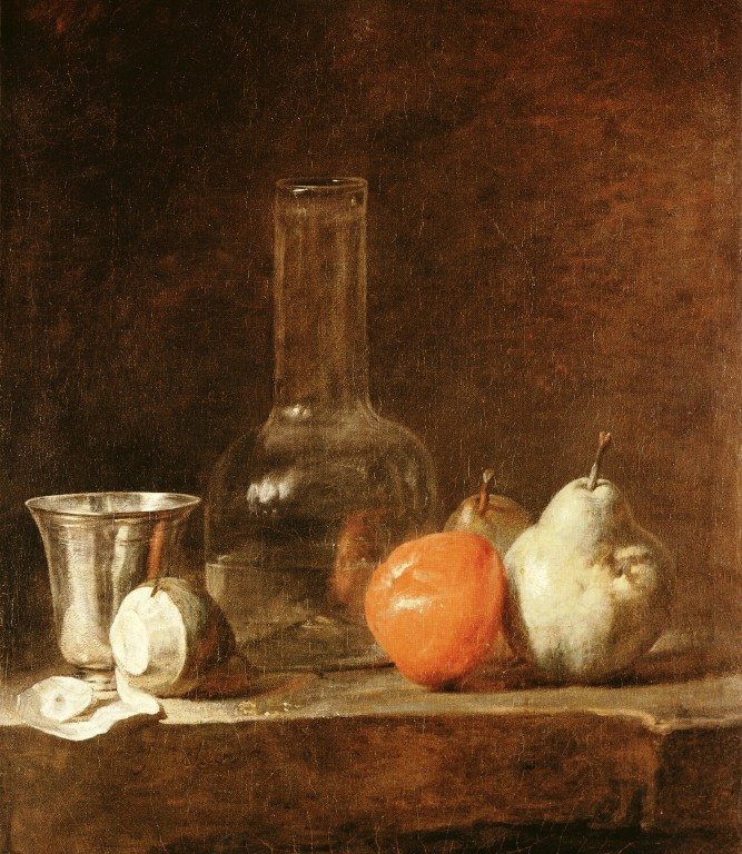 Still Life with Carafe, Silver Goblet and Fruit :: Jean-Baptiste-Simeon Chardin - Still-lives with fruit ôîòî
