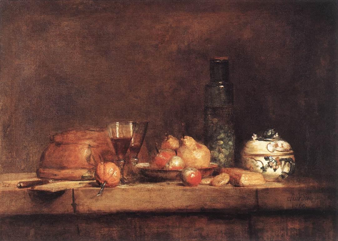 Still-Life with Jar of Olives  ::  Jean-Baptiste-Simeon Chardin  - Still-lives with fruit ôîòî