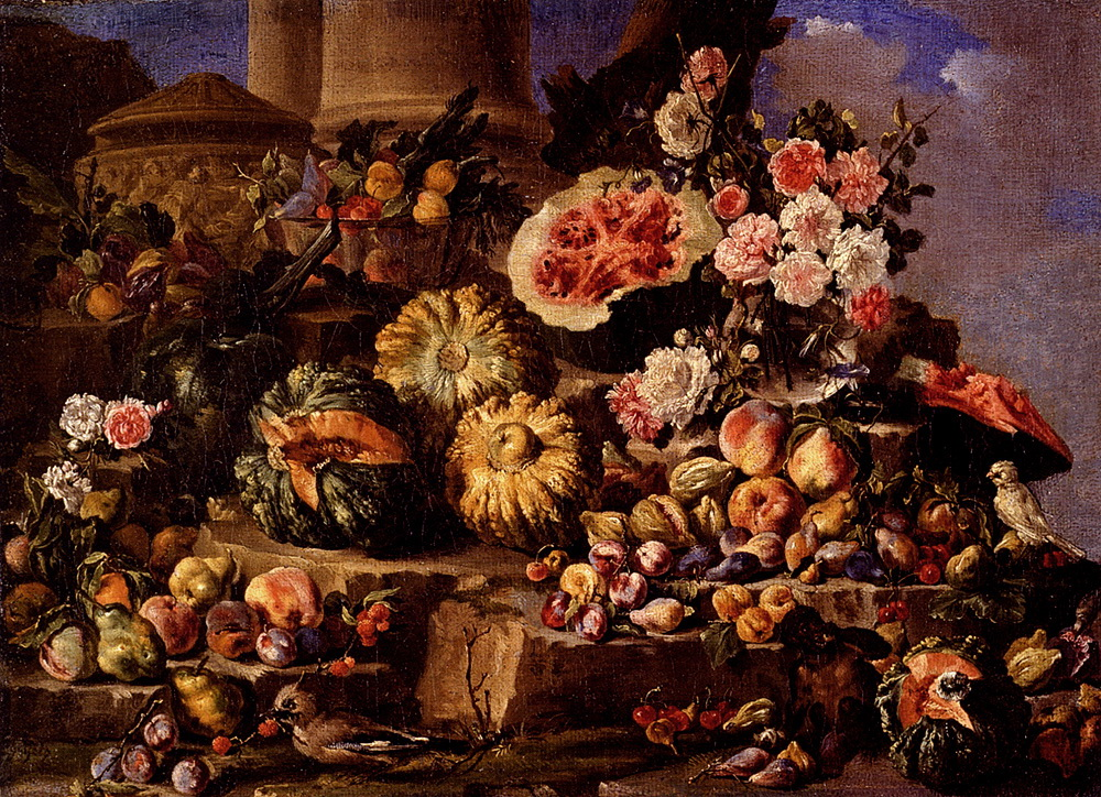 Still Life Of Fruit And Flowers On A Stone Ledge With Birds And A Monkey ::  - Still-lives with fruit ôîòî