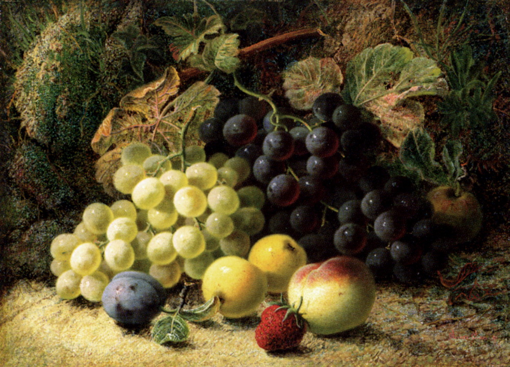Grapes, Apples, A Plum, A Peach And A Strawberry, On A Mossy Bank :: Oliver Clare - Still-lives with fruit ôîòî