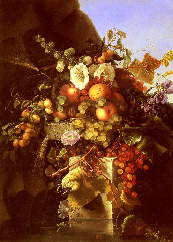 Still Life With Grapes, Peaches, Flowers And A Butterfly :: Adelheid Dietrich - flowers in painting ôîòî