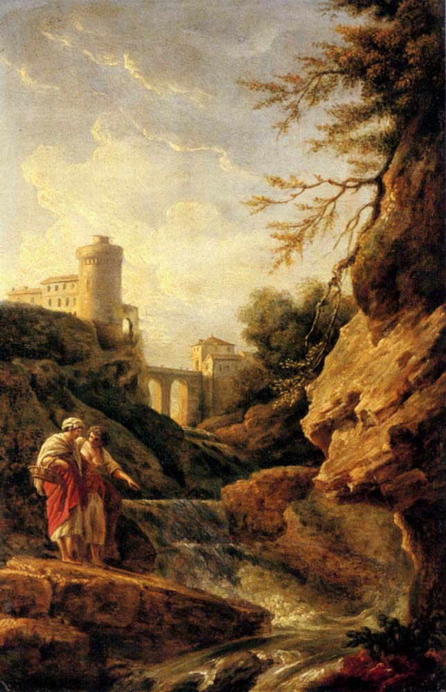 Two female peasants by a waterfall, a town and aqueduct beyond :: Claude-Joseph Vernet - Architecture ôîòî
