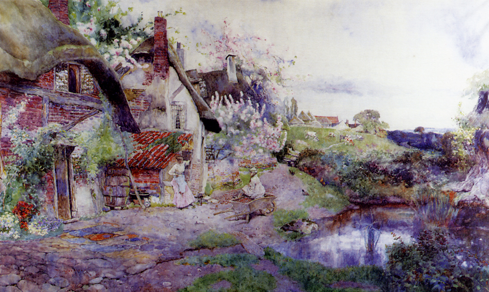 An English Idyll, Figures Outside A Thatched Cottage :: David Woodlock  - Summer landscapes and gardens ôîòî