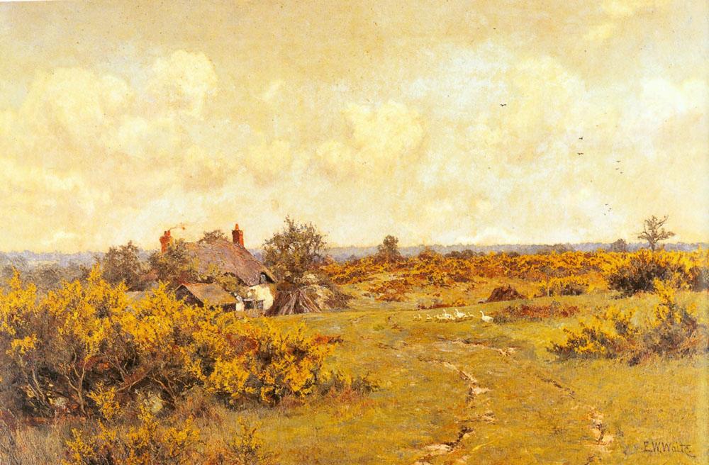 A gaggle of geese on a fram track in a Surrey landscape, a cottage beyond :: Edward Wilkins Waite - Summer landscapes and gardens ôîòî
