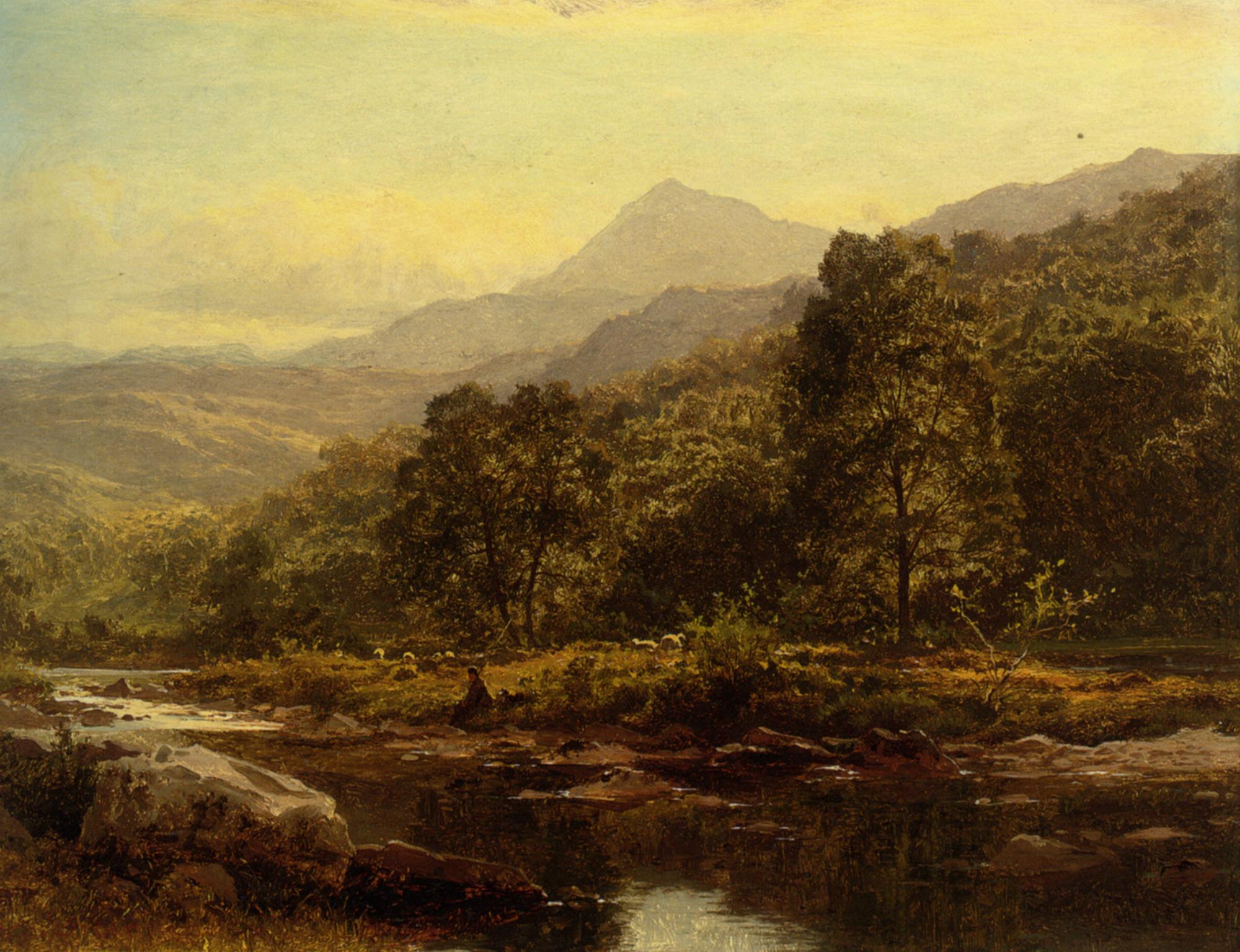 Island on the Llugwy Curig :: Benjamin Williams Leader - River landscapes ôîòî