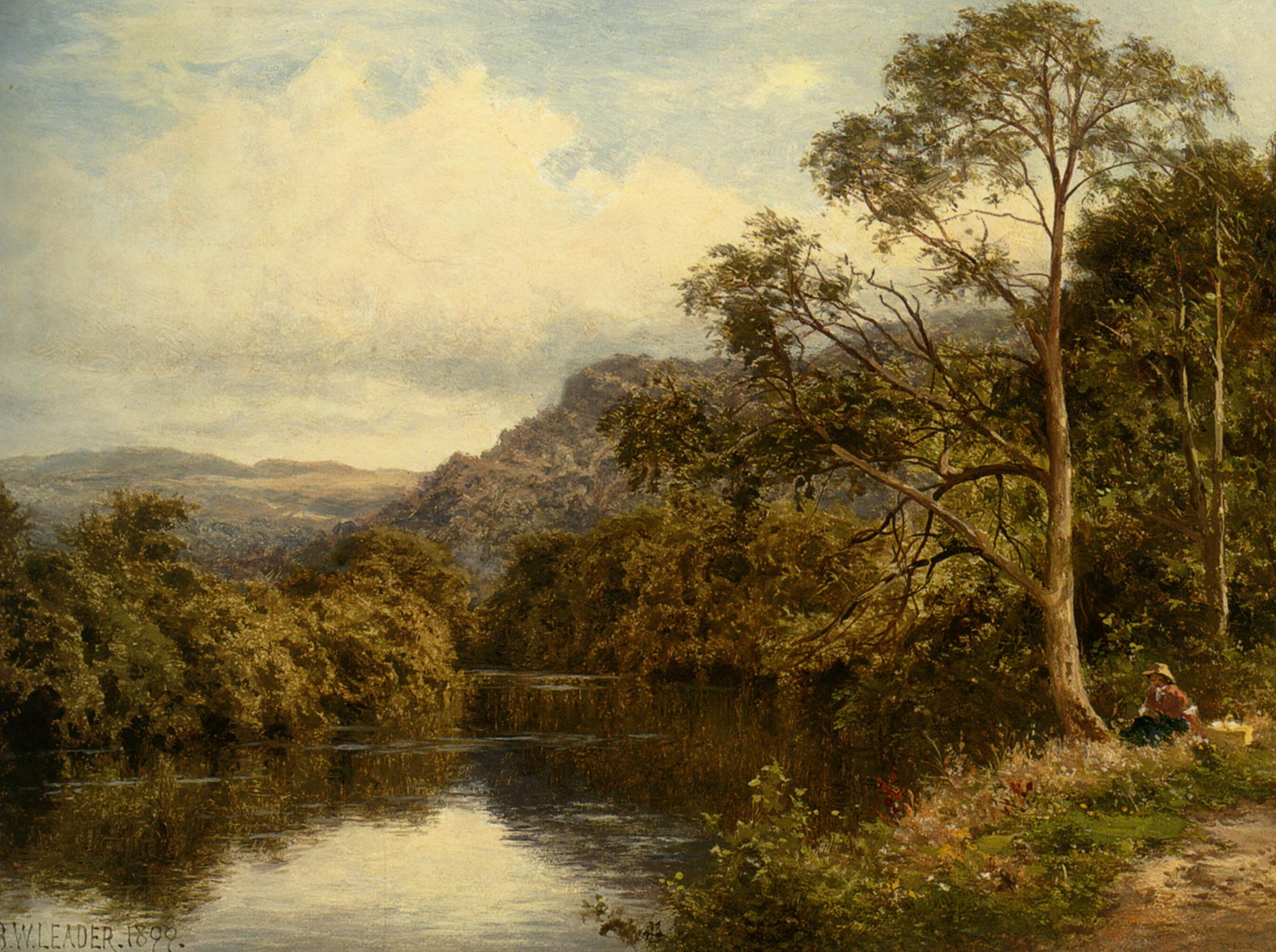 On The River Conway :: Benjamin Williams Leader - River landscapes ôîòî