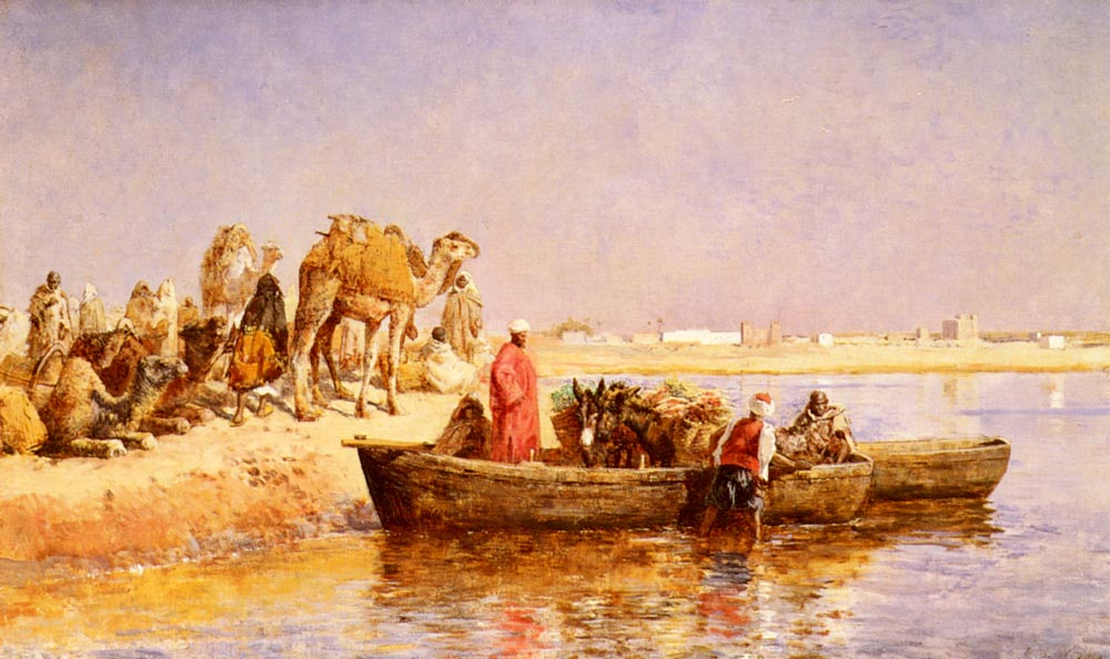 Along The Nile :: Edwin Lord Weeks - scenes of Oriental life (Orientalism) in art and painting ôîòî