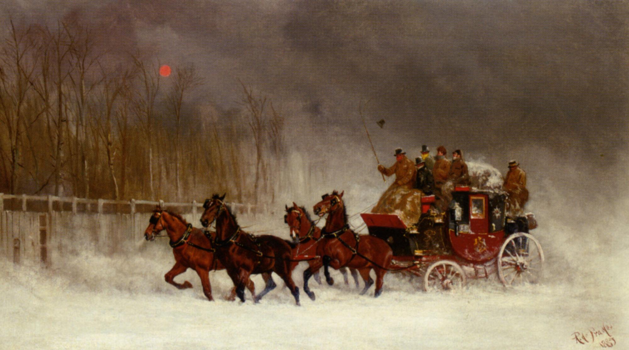 Winter Royal Mail Coach :: Alfred F. De Prades - Horses in art ôîòî