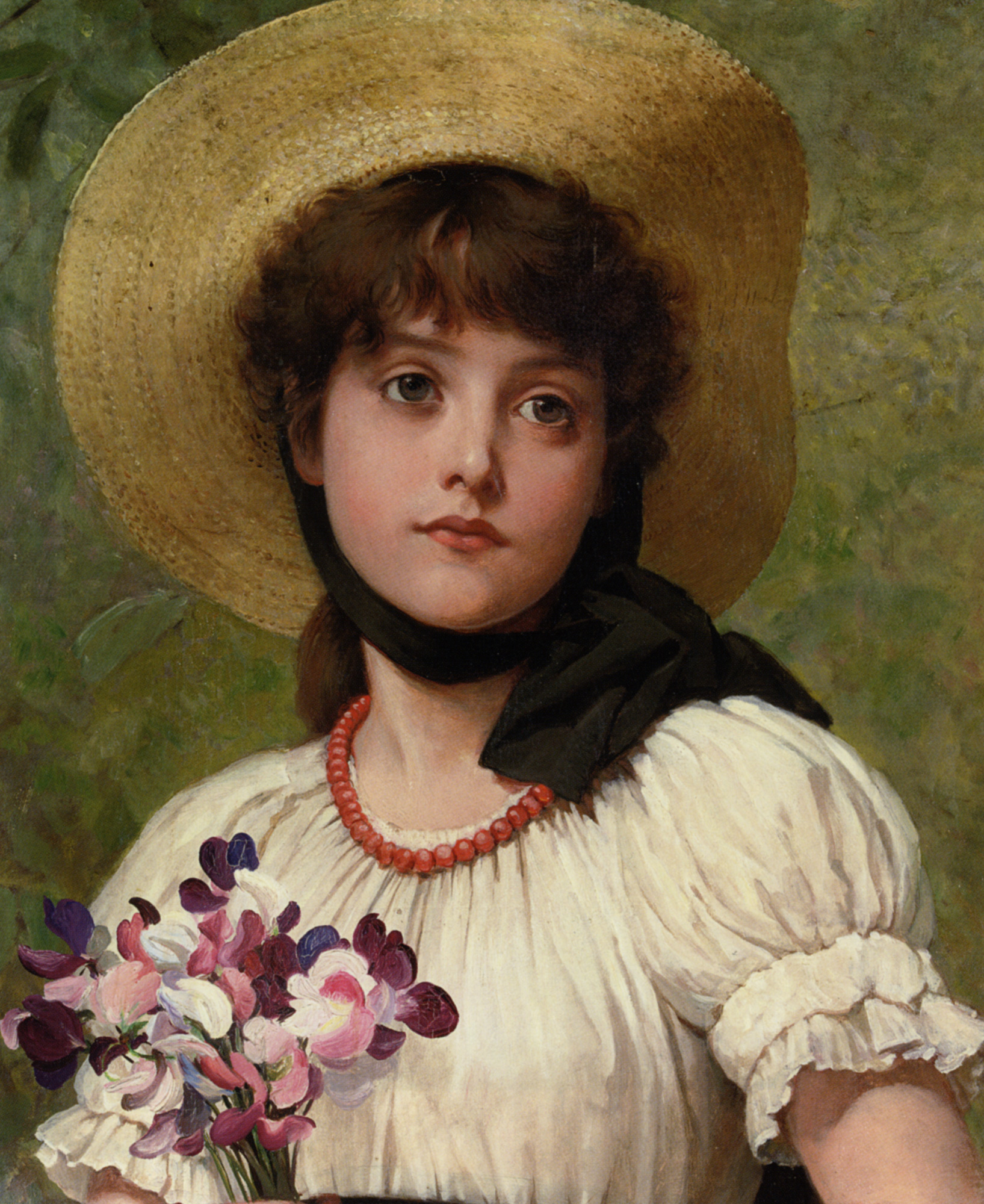 Sweetpeas :: George Dunlop, R.A., Leslie - Young beauties portraits in art and painting ôîòî