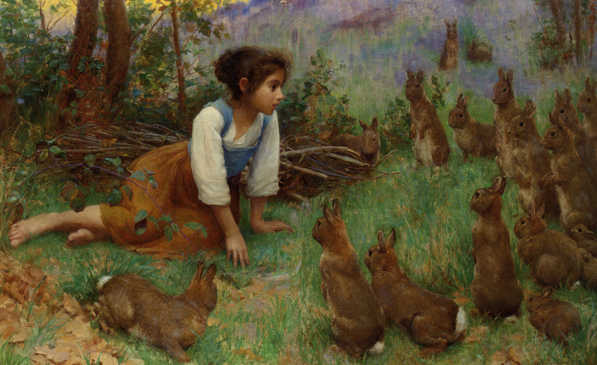 Making Friends :: Percy Harland Fisher - Portraits of young girls in art and painting ôîòî