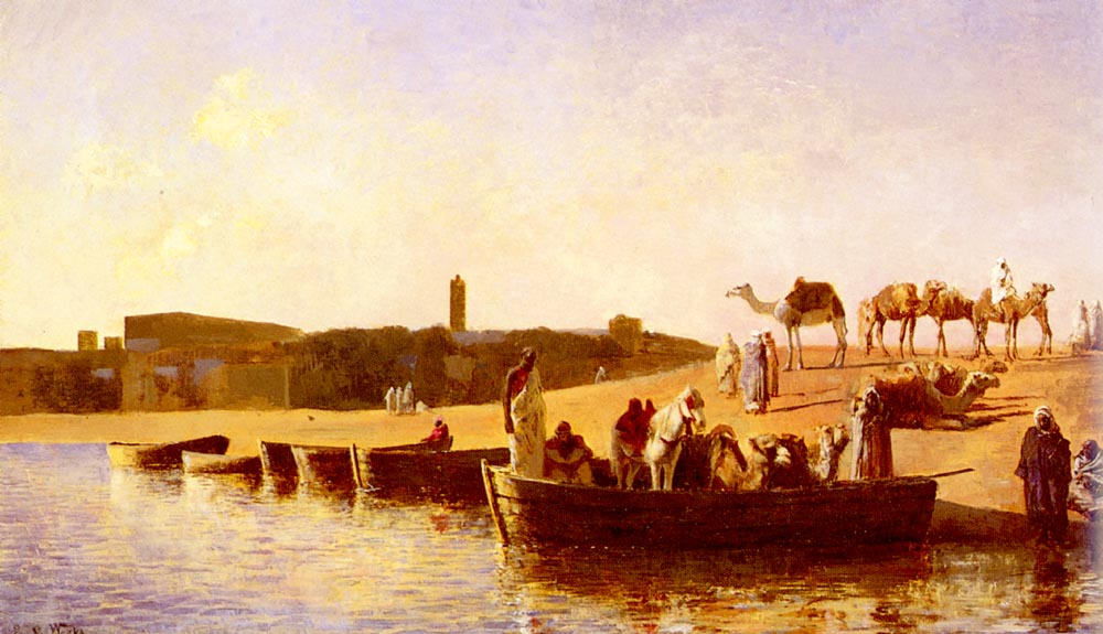 At The River Crossing :: Edwin Lord Weeks - Sea landscapes with boats ôîòî