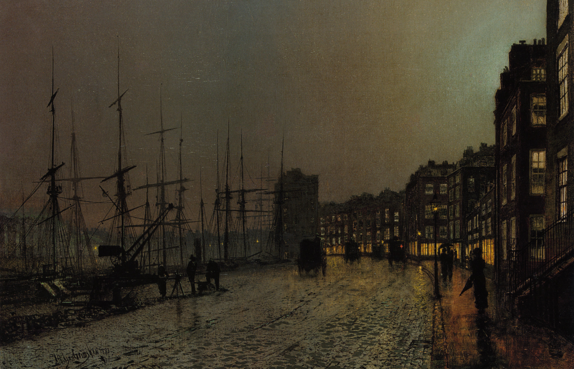 Shipping on the Clyde :: John Atkinson Grimshaw - Sea landscapes with ships ôîòî