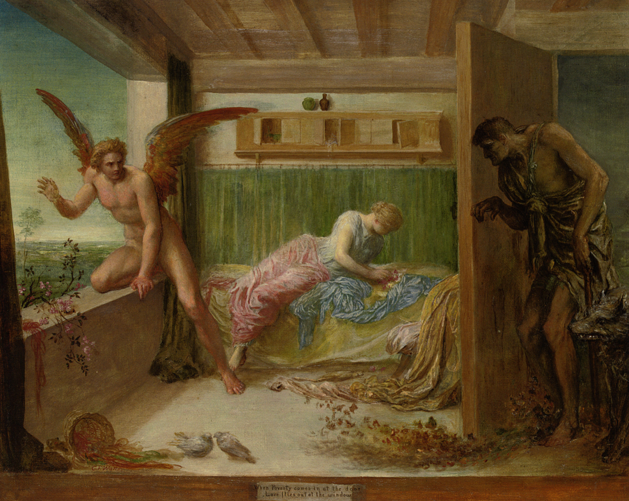 When poverty comes in at the door love flies out the window :: George Frederick Watts - Allegory in art and painting ôîòî
