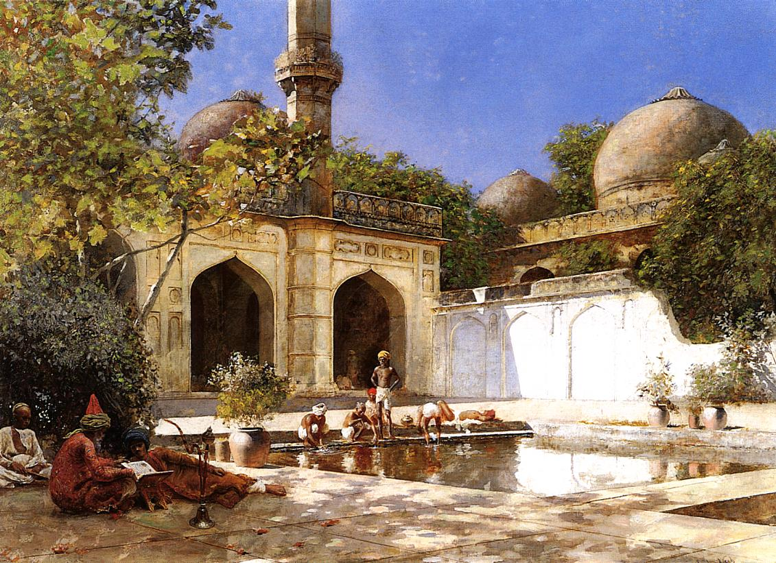 Figures in the Courtyard of a Mosque :: Edwin Lord Weeks - Oriental architecture ôîòî