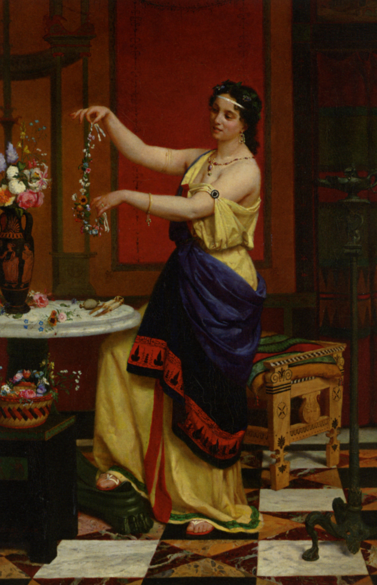 The flower necklace :: Francis Edouard Zier - Antique beauties in art and painting ôîòî