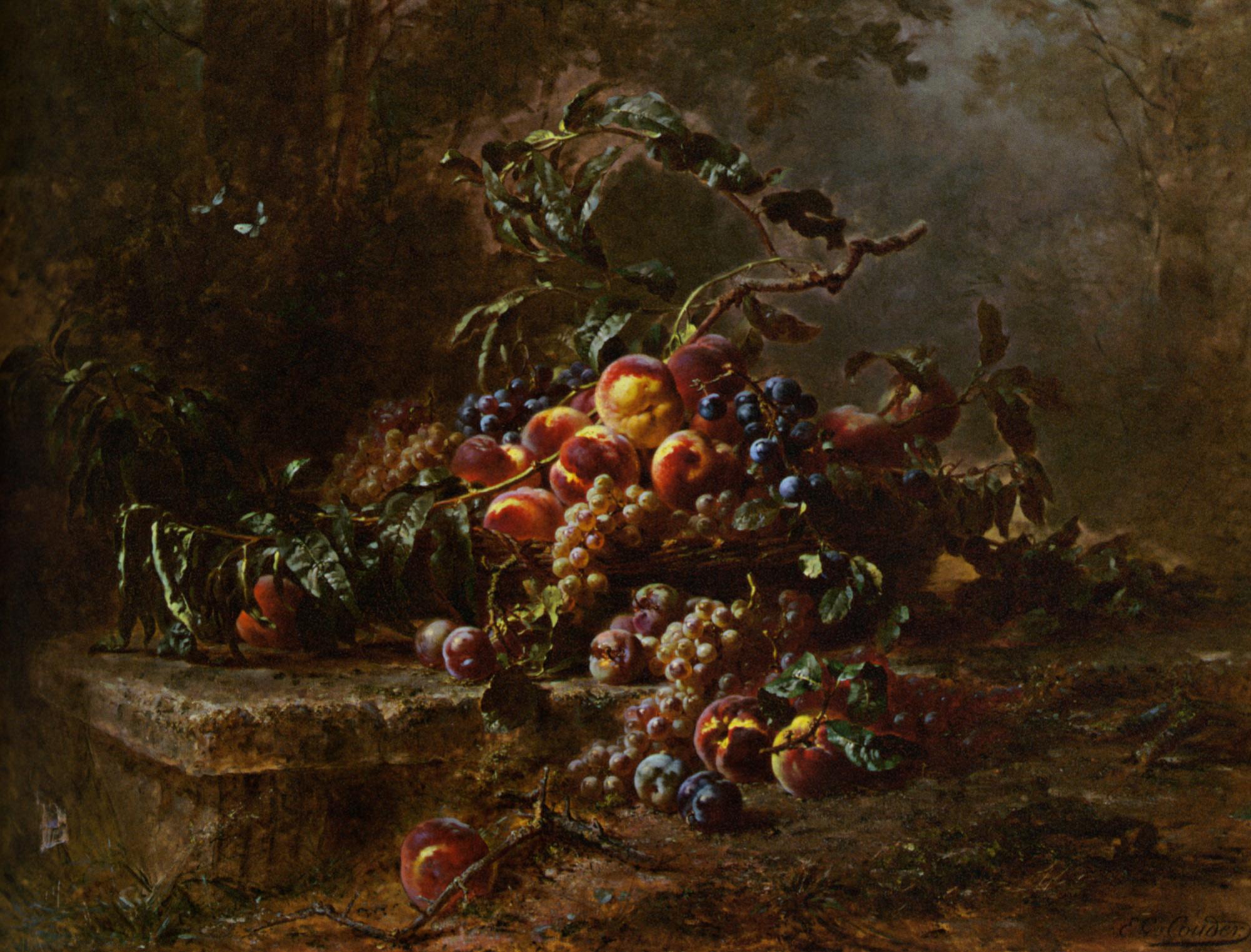 Still Life with Fruits on a Stone Ledge  :: Gustave Emile Couder - Still-lives with fruit ôîòî